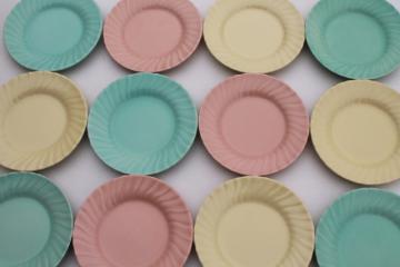 12 vintage cake plates, Franciscan pottery Coronado swirl matte pastel butter mint colors