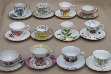 12 vintage china cups & saucers to mix & match, tea party flowered porcelain teacups
