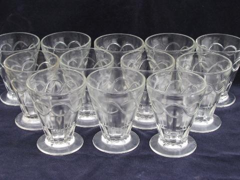 12 vintage heavy glass soda fountain ice cream dishes, sundae glasses