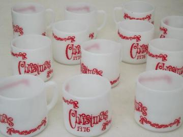 12 vintage milk glass coffee mugs, Christmas 1976 Federal glass cups