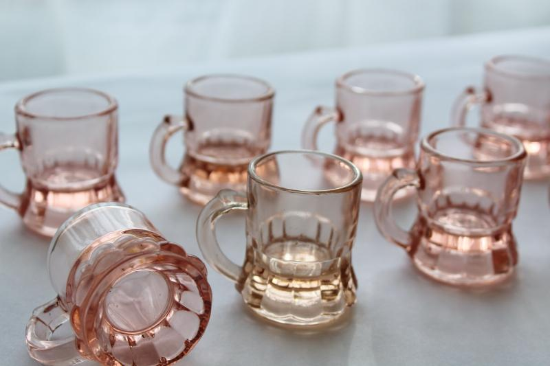 12 vintage pink depression glass shot glasses, tiny beer mugs Federal glass