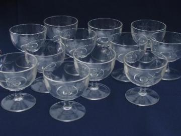 12 vintage wheel-cut glass sherbet dishes, five-pointed Star of Bethlehem