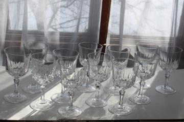 12 wine glasses or water goblets, vintage French crystal Versailles Cristal d'Arques