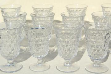 12 wine goblets or water glasses, vintage Fostoria American cube pattern glass