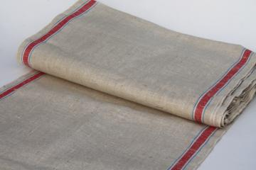 12 yards antique vintage natural flax linen towel / runner fabric, red & blue stripe