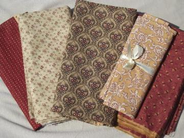 13 yds print cotton quilt fabric, quilting fabric lot  in shades of antique gold