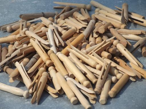 130 vintage wood clothespins, primitive old wooden clothespin lot