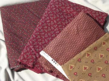 15 yds print cotton quilt fabric, brick red & brown quilting fabric lot
