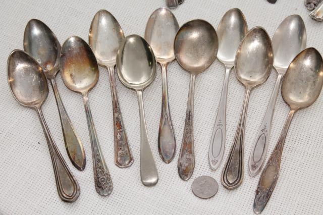 150+ antique & vintage silver plate spoons,& shabby tarnished silverware flatware lot