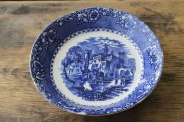 1800s antique Alhambra pattern flow blue & white soup bowl, 19th century vintage