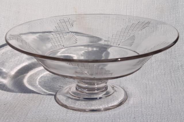 1800s Antique Flint Glass Compote Bowl Early American
