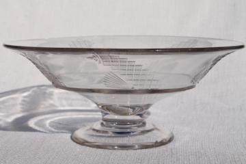 1800s antique flint glass compote bowl, early American pressed pattern glass