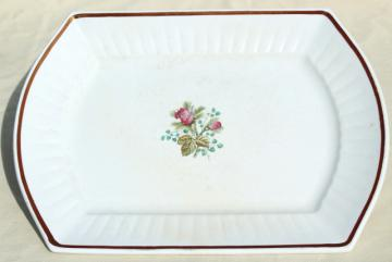 1800s antique ironstone platter or serving tray, moss rose china w/ copper luster