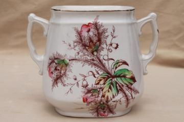 1800s antique moss rose china biscuit jar, aesthetic roses sepia pink engraving