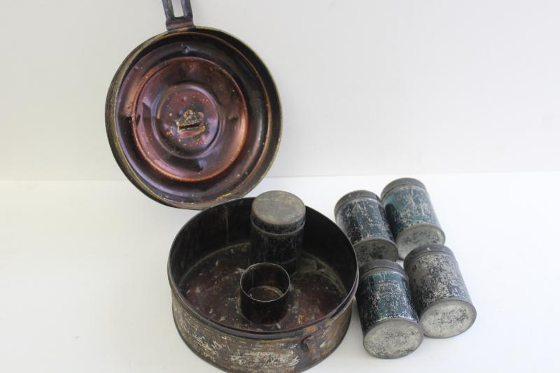 1800s antique toleware apothecary or spice box, metal canisters in round tin