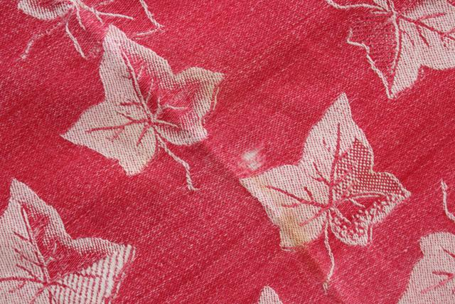 1800s antique turkey red linen damask tablecloth, ivy and lily woven pattern