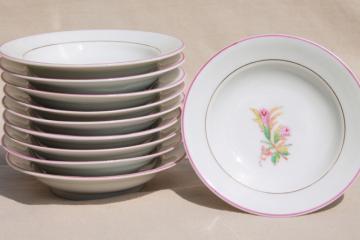 1800s vintage antique moss rose china, set of 10 fruit bowls or dessert dishes