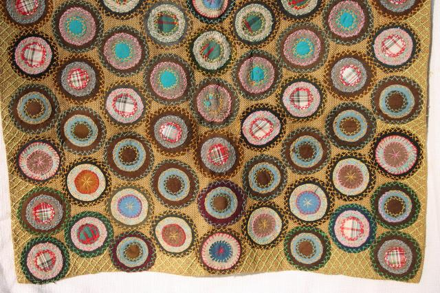 1800s vintage antique table cover, fabric penny rug circles w/ hand stitched embroidery