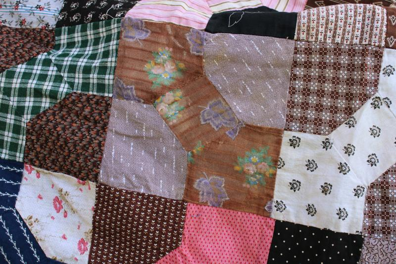 1800s vintage bow tie patchwork quilt top, antique cotton fabric shirtings & prints