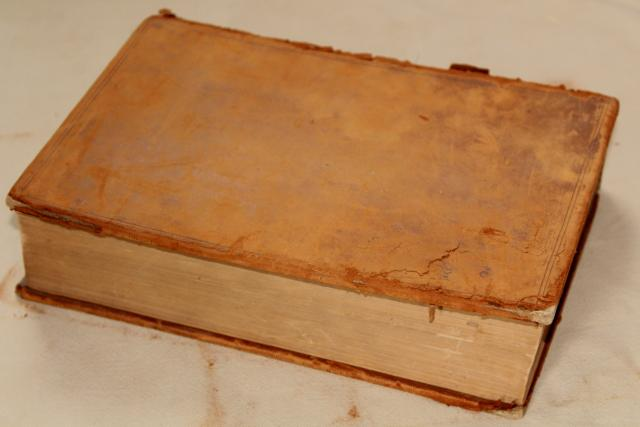 1800s vintage leather bound book, shabby worn old antique library photo prop