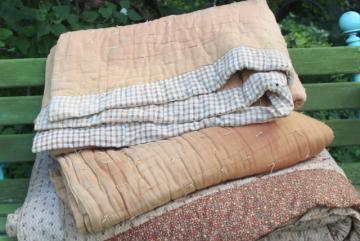 1800s vintage primitive antique tied quilts home dyed cotton & civil war era calico print