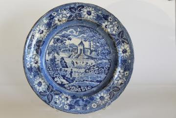 1800s vintage scenic views transferware plate, antique blue & white printed pottery
