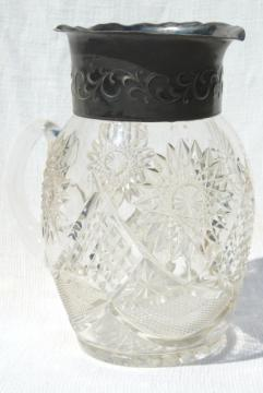 1800s vintage silver / glass lemonade pitcher, star pattern EAPG antique pressed glass