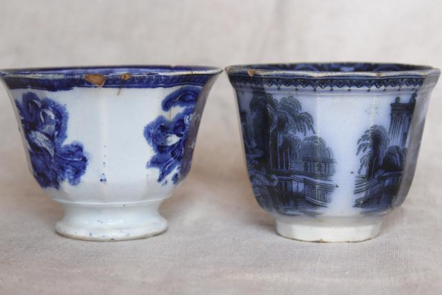 1840s 1850s antique handleless cups, English flow blue china early Victorian vintage