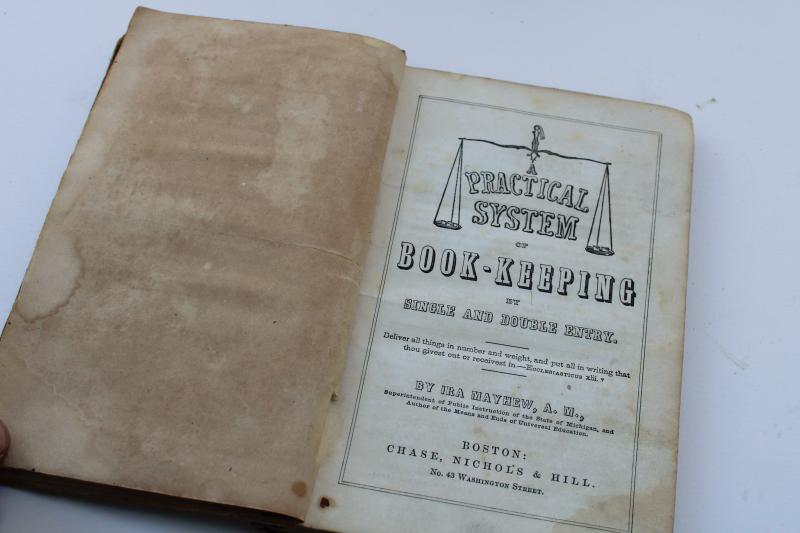 1850s antique book business bookkeeping ledger accounting course study textbook