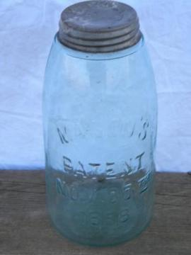 1858 patent date, old antique aqua blue glass fruit jar, 2 qt size