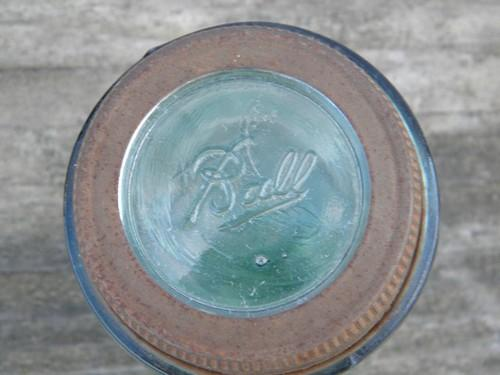 1858 patent date, old antique aqua blue glass fruit jar, pint size