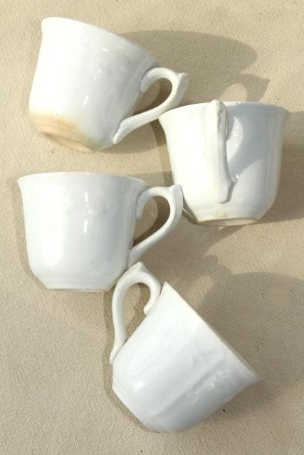 1860s vintage antique white ironstone china embossed prairie wheat English tea or coffee cups
