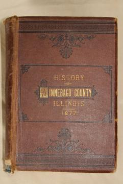 1870s antique book history genealogy maps Winnebago County Illinois, Rockford area