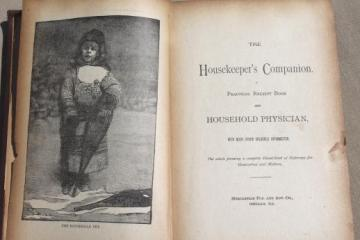 1880s The Housekeeper's Companion, antique book of receipt (recipes) & doctoring