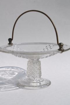 1880s antique EAPG Ripley's 10 cake basket, serving stand w/ metal bail handle