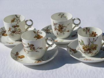 1880s antique Haviland - Limoges demitasse cups & saucers, amber rose