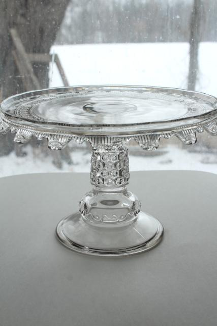 1880s antique cake stand, Wyandotte button band hobnail pattern pressed glass