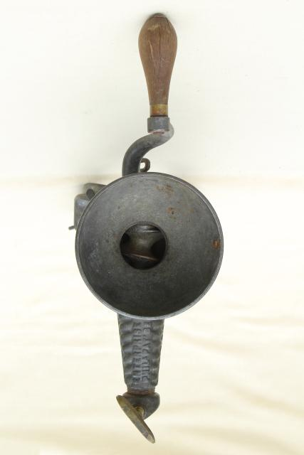 1880s antique kitchen tool, Enterprise fruit press, hand crank crusher juice squeezer