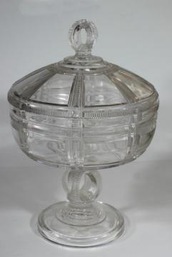 1880s antique pressed glass compote bowl w/ lid, Duncan EAPG Iowa or Cryptic Zipper pattern