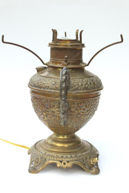 1880s Vintage Rochester Ornate Antique Brass Oil Lamp