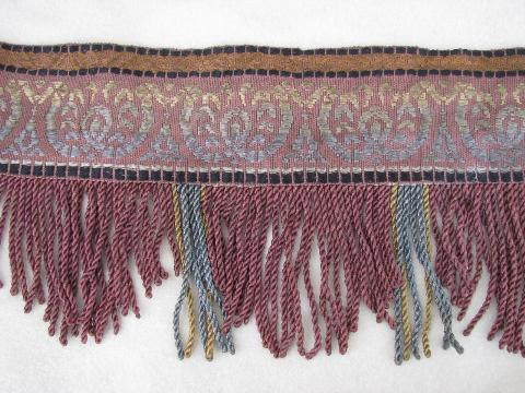 1880s vintage antique drapery trim, rayon embroidery & long fringe