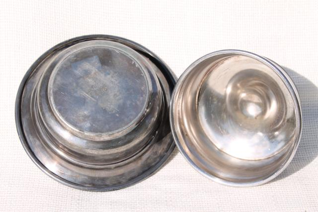 1881 Rogers silver plate round butter dish w/ dome cover, vintage silverplate