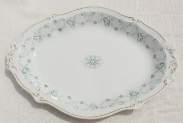 1890s antique English transferware platter or tray, Grindley England ironstone semi-porcelain