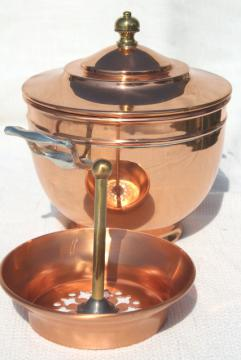1890s vintage Manning Bowman copper coffee pot basket for samovar, antique percolator