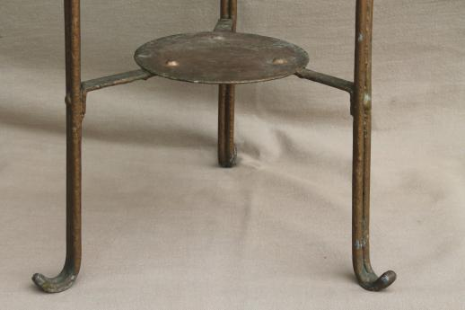 1890s vintage tall plant stand table w/ marble top, antique wrought iron fern stand