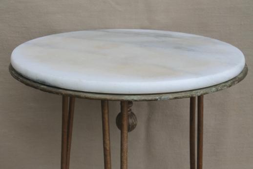 S Vintage Tall Plant Stand Table W Marble Top Antique Wrought - Marble top farm table