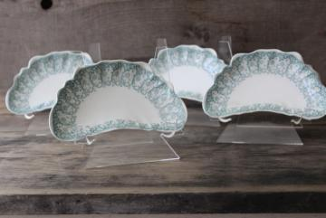 1899 antique china bone dishes, crescent shape plates green transferware Waverly Johnson Bros