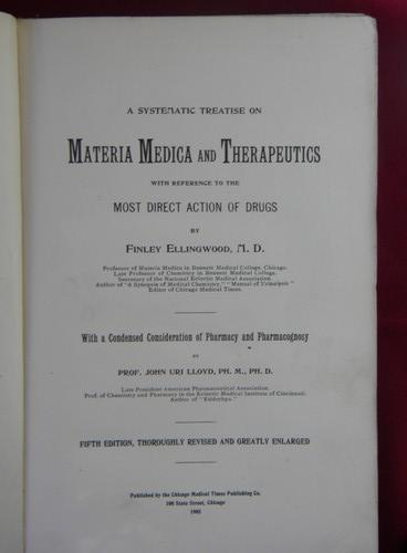 1905 Materia Medica Therapeutics and Pharmacognosy, antique medical text
