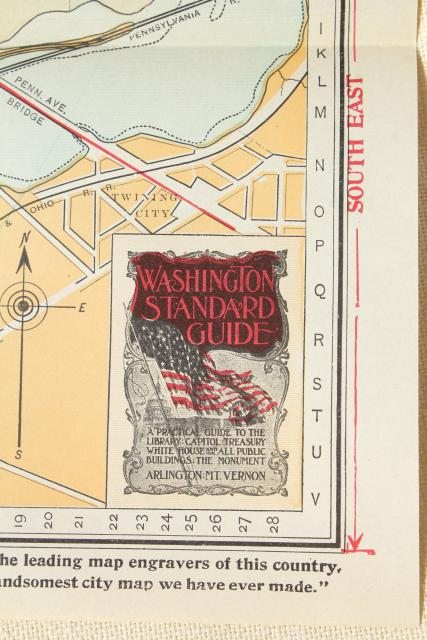 1910 Washington DC map & guidebook, antique vintage advertising & area photos
