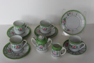 1920s 1930s vintage Japan hand painted china garden party tea set, roses & jadite green
